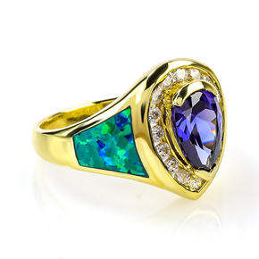 Gold Plated Ring With Drop Cut Tanzanite Gemstone and Australian Opal