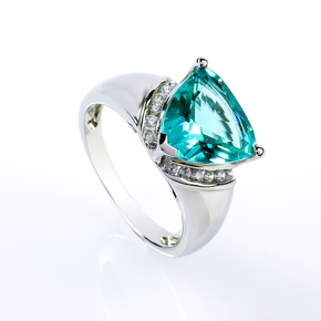 Paraiba Ring Big Trillion Cut Stone