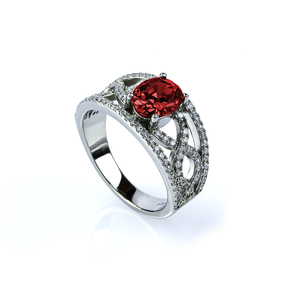 Oval Cut Ruby and Simulated Diamonds