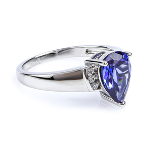 Pear Cut Tanzanite Sterling Silver Ring