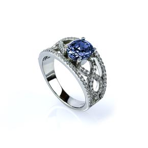 Oval Cut Tanzanite and Simulated Diamonds