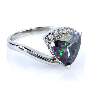 Trillion Cut Big Mystic Topaz Ring