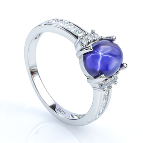 925 Sterling Silver Star Sapphire Ring