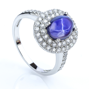 925 Sterling Silver Sparkling Star Sapphire Ring