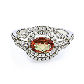 Micro Pave Oval Cut Zultanite Silver Ring