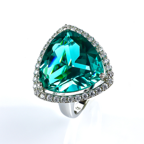 Huge Sterling Silver Trillion Cut Paraiba Ring