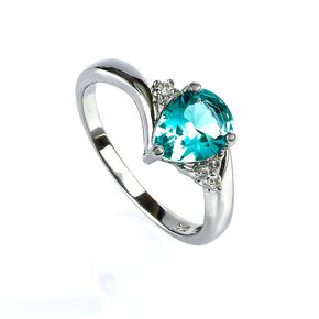 Paraiba Pear Cut Silver Ring