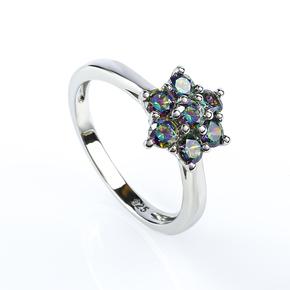 Flower Mystic Topaz Sterling Silver Ring