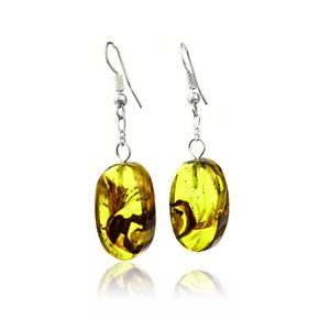 Genuine Ant Amber Silver Earrings 55 mm x 15 mm