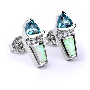 White Opal Trillion Cut Alexandrite Silver Earrings