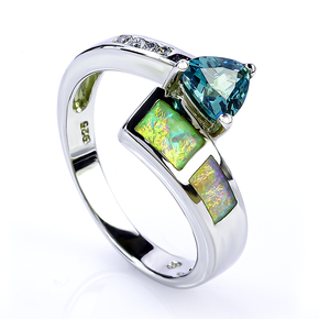 Australian Opal Ring with Trillion Cut Alexandrite