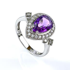 Sterling Silver Big Pear Cut Amethyst Ring