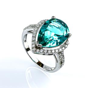 Big Pear Cut Paraiba Sterling Silver Ring