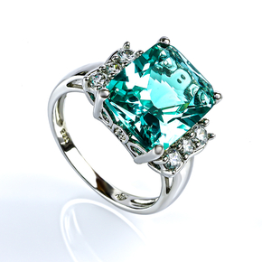Silver Ring With Paraiba Stone
