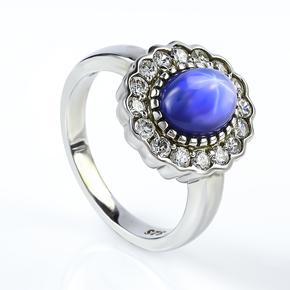 9 mm x 7 mm Blue Star Sapphire Gemstone Silver Ring