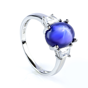 Sterling Silver Star Blue Sapphire Ring
