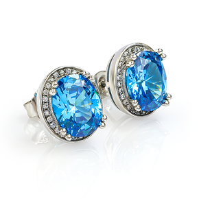 Oval Cut Blue Topaz Silver Earrings