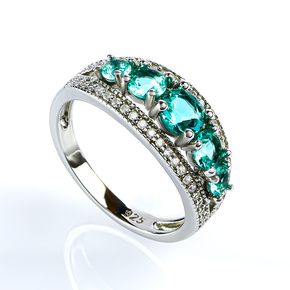 Sterling Silver Stackable Paraiba Ring