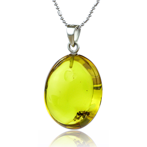 Genuine Ant Amber Silver Pendant From Mexico 32 mm x 20 mm