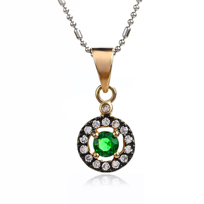 14K Rose Gold Plated Emerald Sterling Silver Pendant