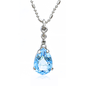 Genuine Blue Topaz Silver Pendant with Diamonds