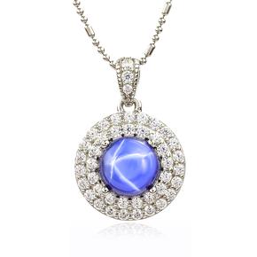 Blue Star Sapphire Pendant Simulated Diamonds