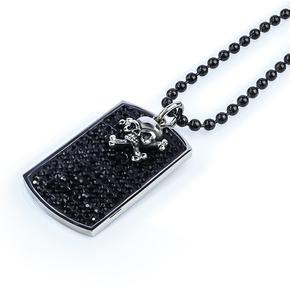 Stainless Black Steel Skull Necklace For Men Dog Tag