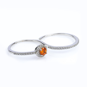 Fire Opal Double Silver Ring With Solid Silver