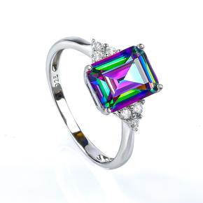 Emerald Cut Mystic Topaz Silver Ring