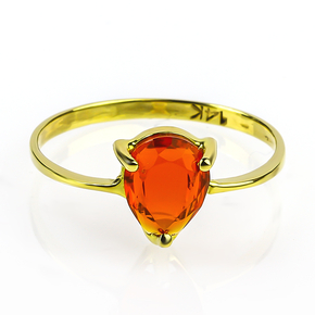 Natural Pear Cut Mexican Fire Cherry Opal 14K Gold Ring