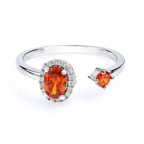 Double Fire Opal Sterling Silver Solitaire Ring