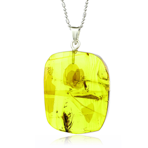 100% Natural Amber With Mosquito Silver Pendant 35mm x 25mm