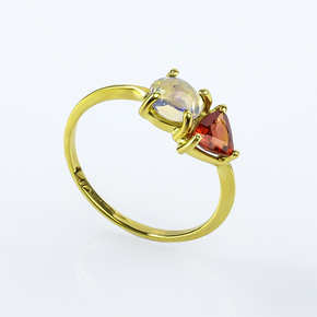 Genuine Sapphire and Fire Mexican Opal Natural 14K Solid Gold Ring