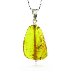 100% Natural Amber Silver Pendant