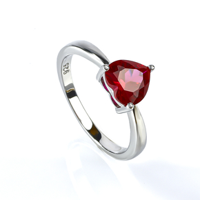 Heart Shape Ruby Sterling Silver Solitaire Ring