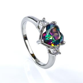 Mystic Topaz Heart Shape Cut Silver Ring