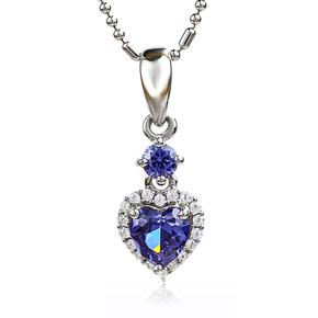 Heart Shape Tanzanite Silver Pendant