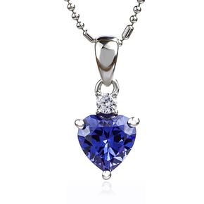 Elegant Heart Shape Tanzanite Silver Pendant