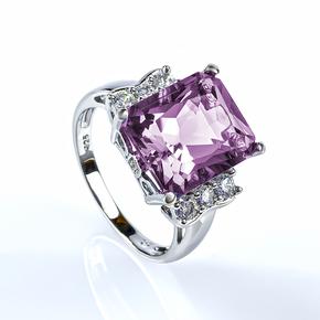Big Emerald Cut Engagement Alexandrite Silver Ring