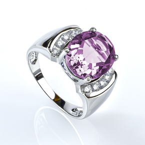 Oval Cut Huge Alexandrite Changing Color Sterling Silver Ring