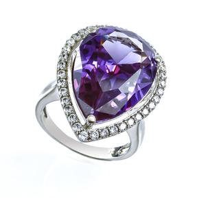 Sterling Silver Big Amethyst Ring