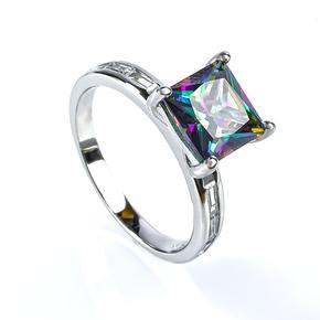 Mystic Topaz Silver Ring Princess Cut Stone