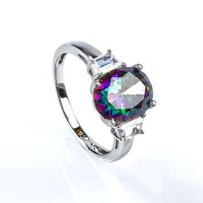 Big Mystic Topaz Sterling Silver Ring