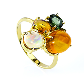 Natural High Quality Mexican Fire Jelly Opal Green Sapphire 14K Gold Ring