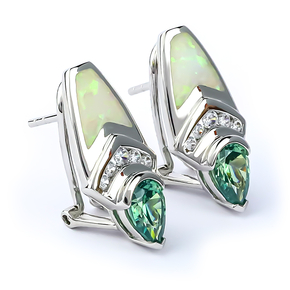 White Opal With Alexandrite Silver Earrings