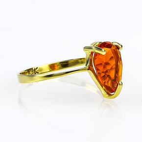 Genuine Pear Cut Mexican Fire Cherry Opal 14K Gold Ring