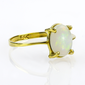 Genuine Milky Mexican Opal Natural 14K Solid Gold Ring