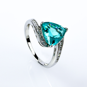 Silver Trillion Cut Paraiba Ring