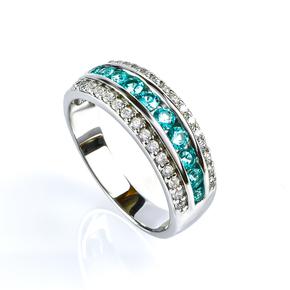 Channel Setting Paraiba Silver Ring