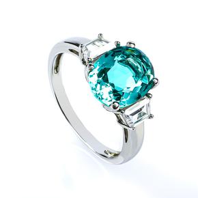 Paraiba Sterling Silver Oval Cut Gemstone Ring